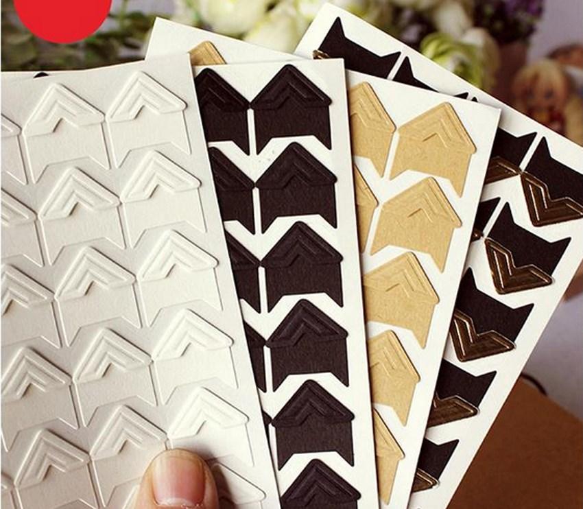 Hot 120 Pcs/lot (5 Sheets) DIY Vintage Corner Kraft Paper Sticker Photo Albums Decor