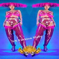 K23 Pink Leopard print bodysuit dj stage wears jumpsuit party outfit performance dress feather hat singer performance wears bra