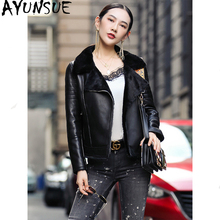 AYUNSUE 100% Real Sheepskin Coat Female Natural Sheep Shearling Fur Coats 2020 Winter Jacket Women Genuine Leather Jacket MY3742