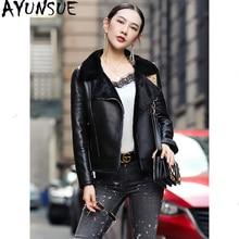 Ayunsue 100% 本物の羊皮コート女性の自然な羊ムートン毛皮のコート2020冬ジャケット女性の革のジャケットMY3742