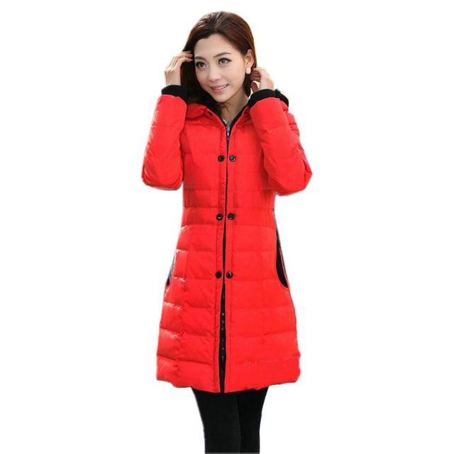 Novas Mulheres Moda Inverno Para Baixo jaqueta Com Capuz Espessamento Super quente Médio E longo Casaco de Retalhos cor Solto Casaco Plus-Size SJ1135