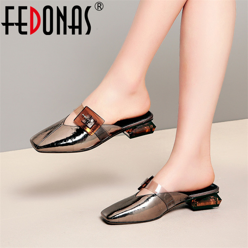 FEDONAS Mules Shoes Women Sexy Pumps Big Buckle Decoration Small Sqaure Toe Low Heels Spring Summer