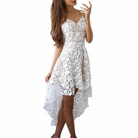 Elegant Ladies Robe Party Dresses Women Sexy Hollow Out Boho Red White Lace Dresses Women Sleelevess Irregular Beach Sundress