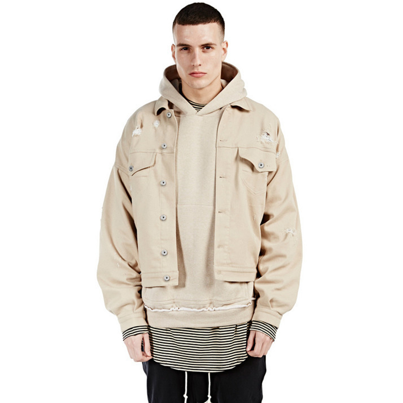 2017 Men fashion Kanye West FOG tan Denim jacket Justin ...