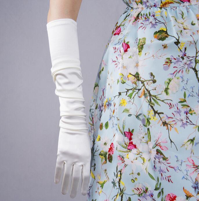 Women's Long Elastic Satin Glove Lady's Elegant Fashion Sunscreen Glove 55cm R266