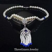 ThreeGraces Takı Benzersiz Tasarım Kraliyet Mavi Taşlı Kristal Açacağı Uzun Sarkan Püskül Inci Kolye Kadınlar Için PN048