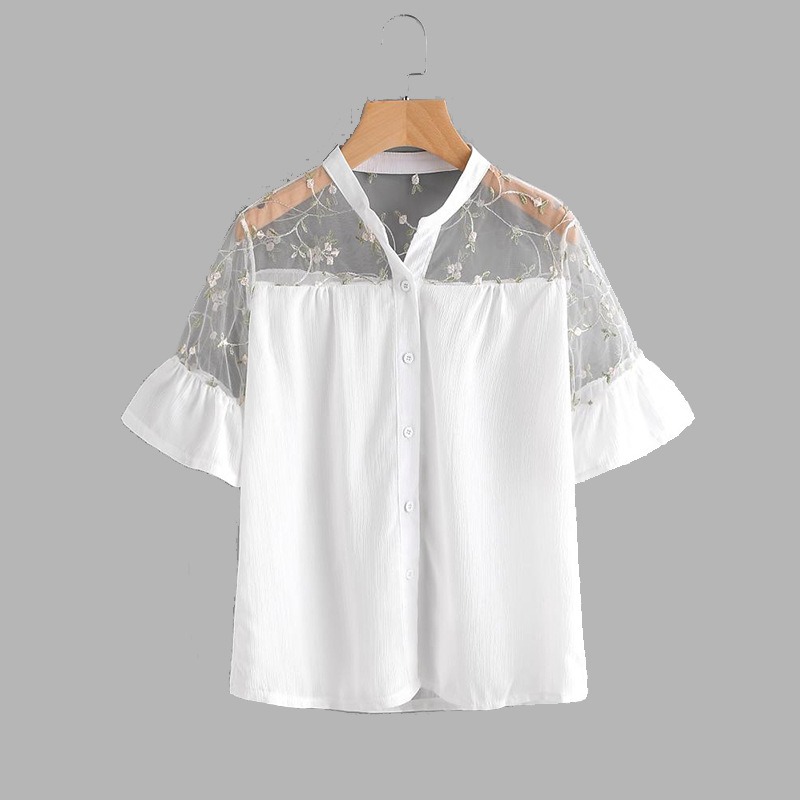 Women's Clothing 2018 Summer Fashion Short Sleeve Embroidery Lace Blouses Women Hollow Out Lace Patchwork Mesh Lace Shirts Girls Embroidery Tops Without Return