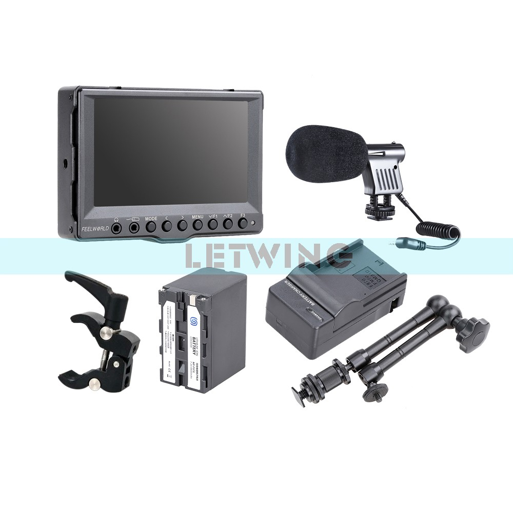 FEELWORLD A5 5 Aluminum HD On-Camera Field Monitor + NP-F970 Battery w/Charger + 11  Magic Arm+ Super Clamp + Microphone