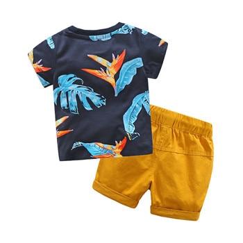 2019 Baby Boys Sets Summer Boys Sets Clothes T shirt+short Pants cotton sports Letter printed Set Children Suit 2