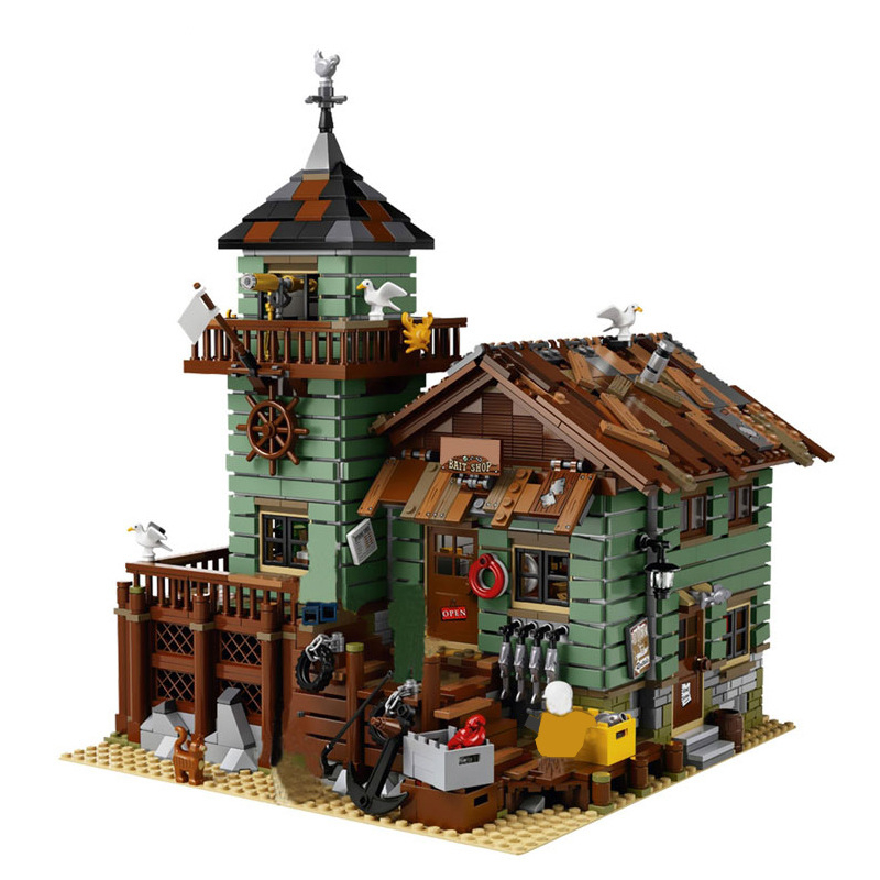 Kids Toys Ideas series The Old Fishing Store Model Building Blocks set Compatible legoings Classic architecture house Toys