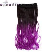 С-noilite длинные вьющиеся 23 дюйм(ов) Клип В Ombre волос чёрный; коричневый блондинка серый Синтетические волосы часть 5 клипов ins