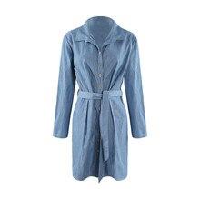 Осень большие размеры в западном стиле модные однотонные Длинные рукава 3XL-6XL синий Большие размеры избыточный вес Женская Повседневное платье из джинсовой ткани