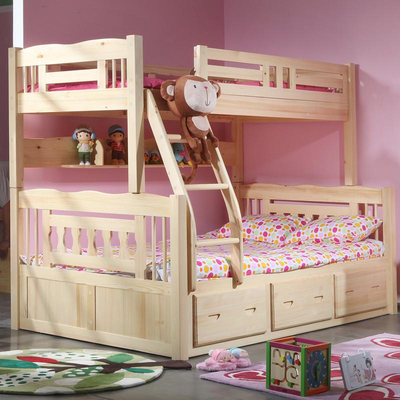 Solid wood furniture pine bunk beds for children boys and
