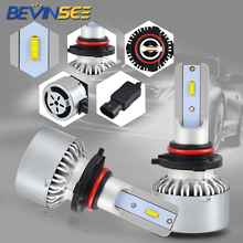 Bevinsee Car LED Headlights Fog Headlamps 9-36V for H4 H7 H11 PX24 P13 9005 9006 X6 Auto Headlight Driving Lamps White