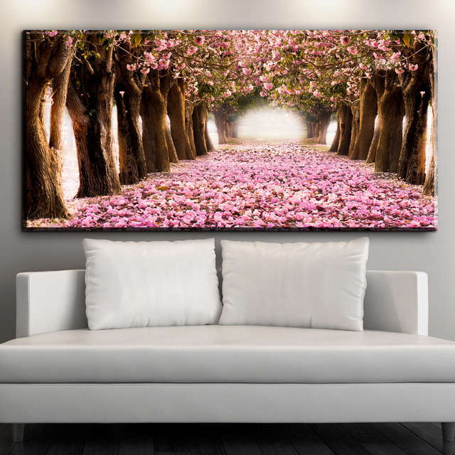ZZ1538 HD print wall painting pink tree modern landscape art canvas ...