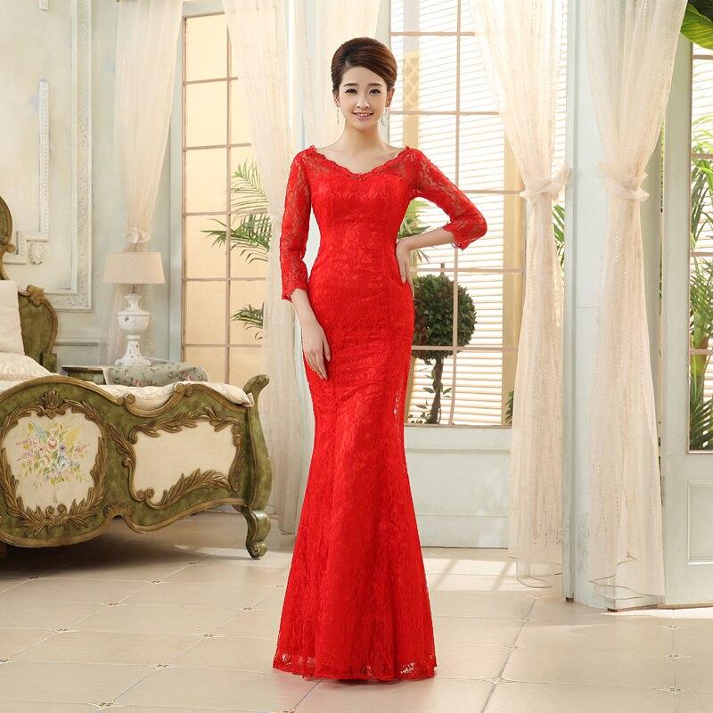 2014 women 39 s v neck fish tail lace bridal evening dress for Long sleeve slim wedding dresses