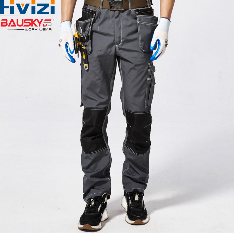 Men's Mens Working Trousers Working Cargo Clothes Cotton Polyester Workwear Pants Multi-pockets Tool Men Safety Pants B128