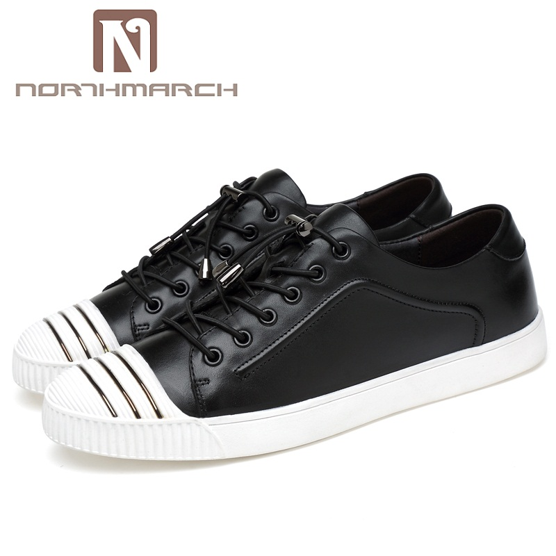NORTHMARCH Luxury Brand Men Shoes Genuine Leather Casual Shoes Mens Krasovki Spring Lace Up Men Shoes Fashion Breathable Sneaker us 6 10 trendy mens lace up soft genuine leather sneaker shoes boys students casual outdoor white leather shoes