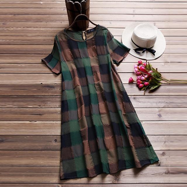 Плюс размеры 2018 летнее платье Винтаж для женщин короткий рукав длинный топ пляжные сарафаны Vestido Robe клетчатая элегантная рубашка платья для