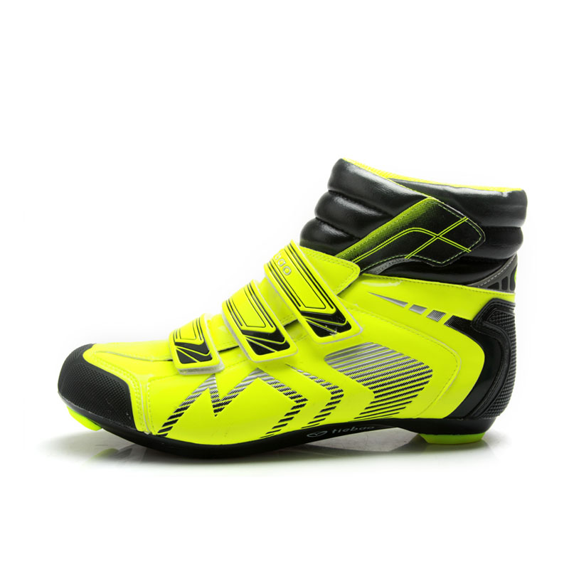 TIEBAO 6-1686 Hight Cut Road Bicycle Shoes Fluorescein Yellow & Black Outdoor Road Cycling Shoes SPD, LOOK-KEO Cleat Compatible