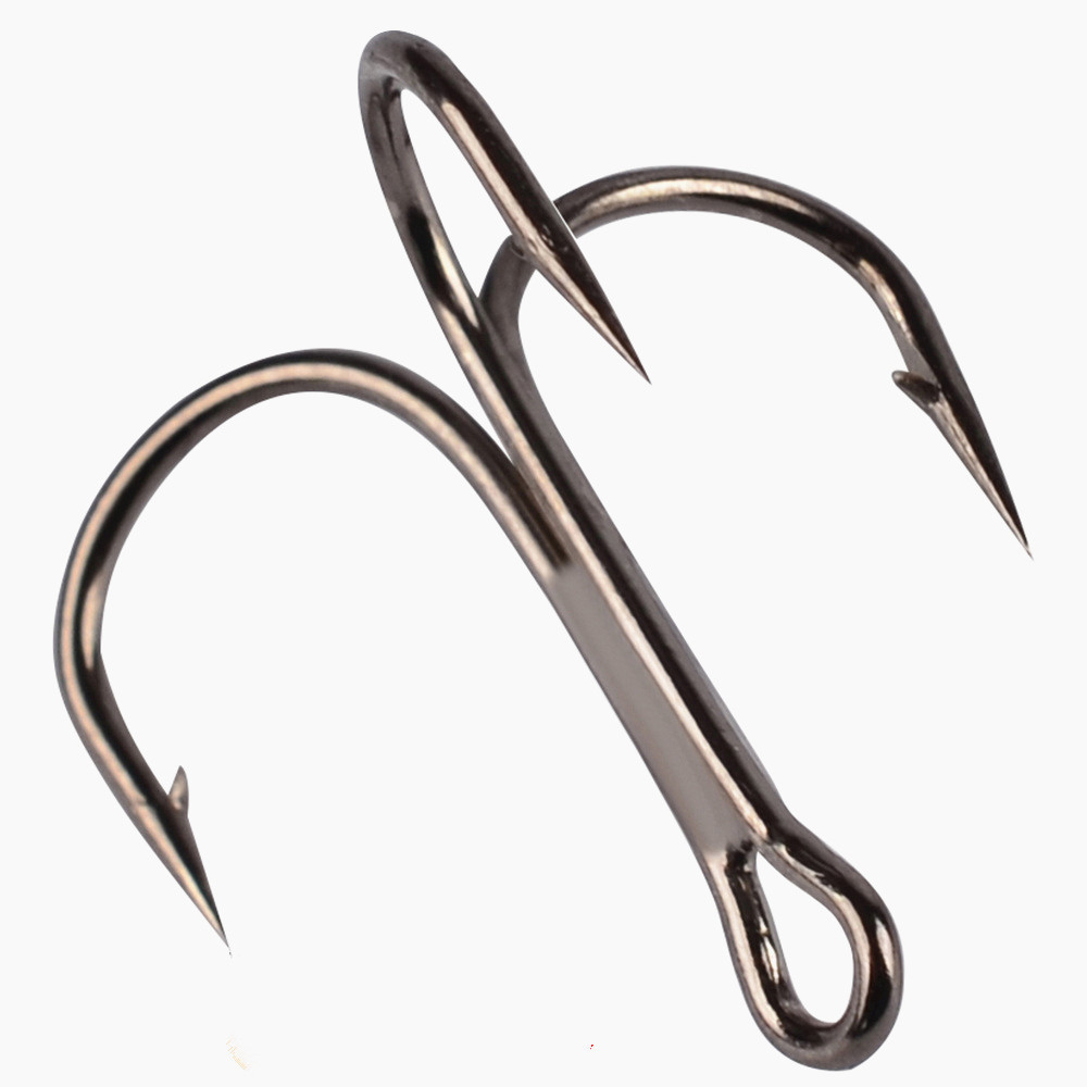 10 Pcs/lot 2# 4# 6# 8# 10# Black Fishing Hook High Carbon Steel Treble Overturned Hooks Fishing Tackle Round Bend Treble Bass