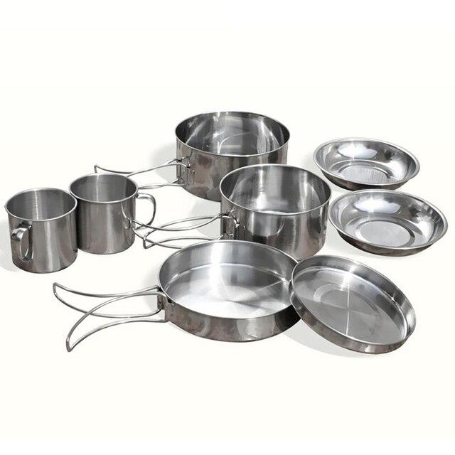 8 adet/takım Paslanmaz Çelik Açık Piknik Pot Tava Kiti Kamp Yürüyüş Tencere Plaka/Kase/Bardak/Tava Kapağı pişirme seti