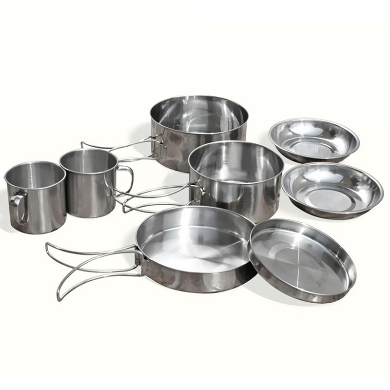 8Pcs/set Stainless Steel Outdoor Picnic Pot Pan Kit Camping Hiking Cookware Plate/Bowl/Cup/Pan Cover Cooking Set