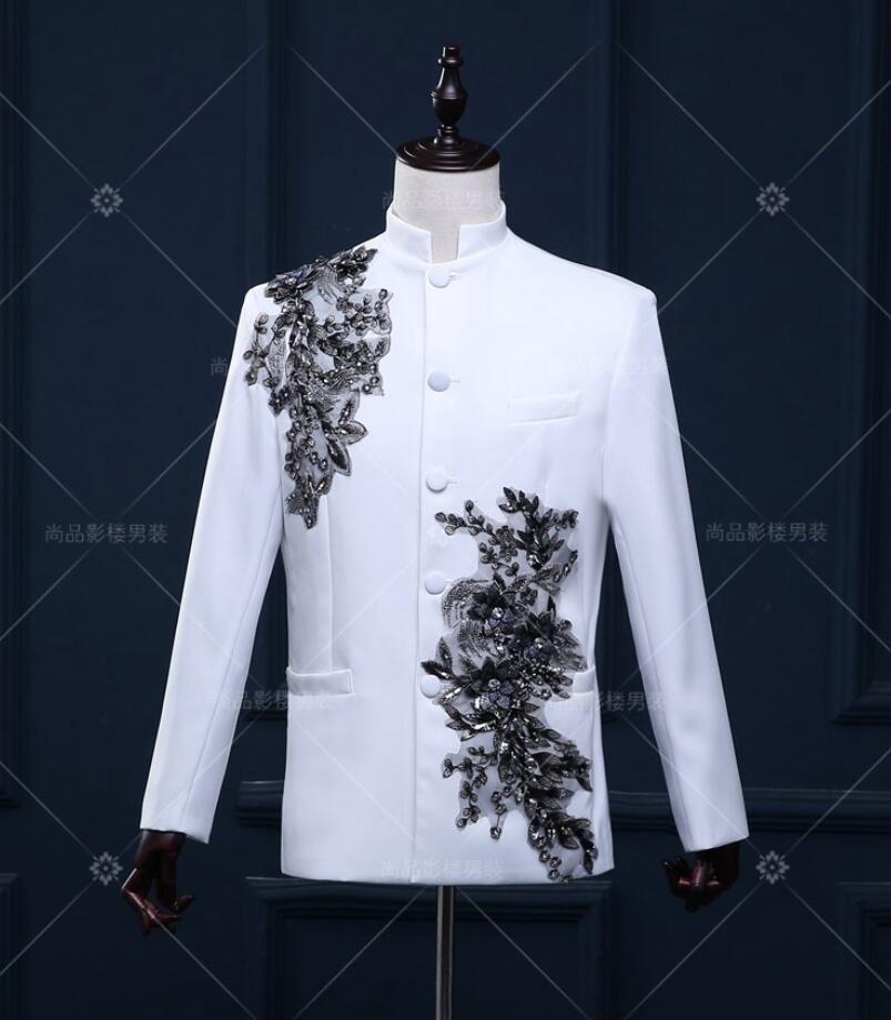 Fashion Mens 2Pcs White Slim Fit  Stand Collar White Wedding Dress Suits Palace