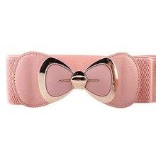 High Quality Women Charming Bownot Cummerbund Belt Fashion Lady Stretch Elastic Wide Strap Belt Elastic Dress Adornment Oct31