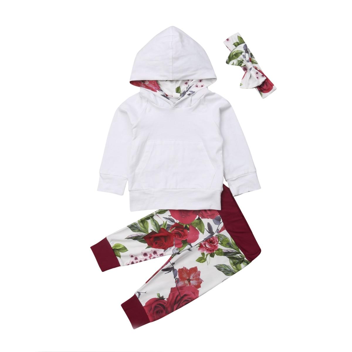 0-2 Mt Neugeborenen Baby Junge Mädchen Herbst Kleidung Langarm Weiß Mit Kapuze Sweatshirt Tops Floral Lange Hose Stirnband 3 Stücke Kleidung Set