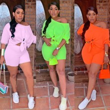 Women Off Shoulder Top And High Waist Shorts Two Piece Set 2019 New Solid Tie Up Summer Suits Short Tracksuit Casual Outfit