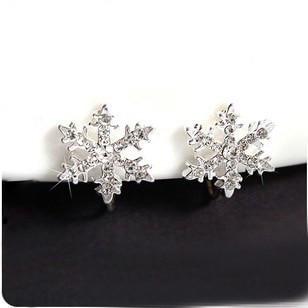 cute painless ear clip Christmas snowflake clip earrings non pierced ear clip U-shaped Пирсинг ушей