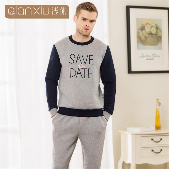Qianxiu 2017 Lovers Pajamas letters printed Men's Pajamas sets round collar Casual Long Sleeve Clip cotton pajama sleepwear suit