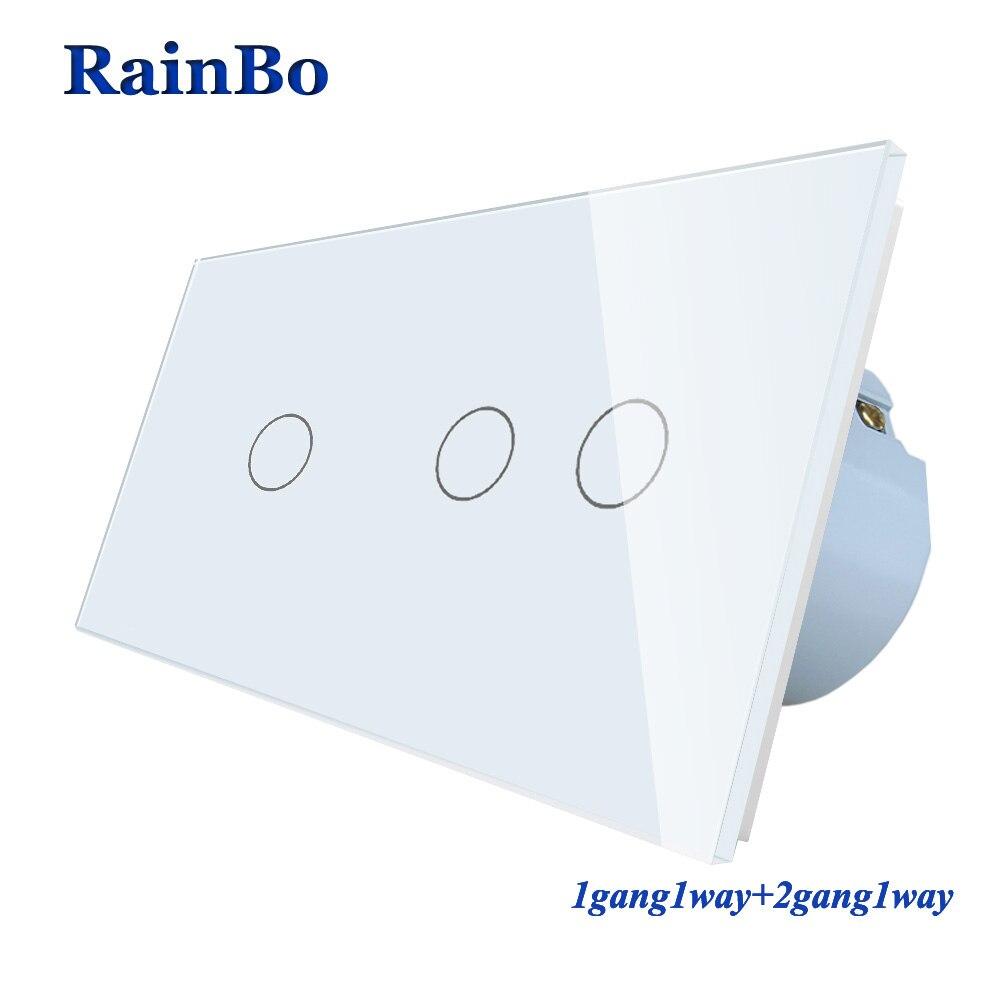 RainBo 2 cadre en verre cristal panneau interrupteur interrupteur mural EU interrupteur tactile écran interrupteur mural 1gang1way + 2gang1way A291121CW/B