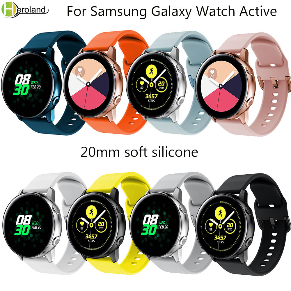 Silicone 20mm Watch Band For Original Samsung Galaxy Watch Active Band Galaxy 42mm Gear S2 Sport Smart Wristbands Watchstrap Hot