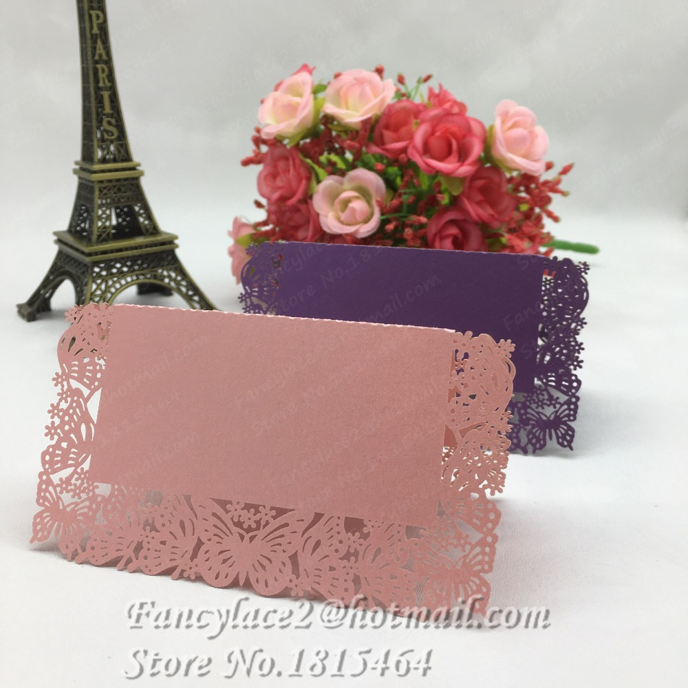 50pcs New Laser Cut Butterfly Damask Name Place Cards Table Cards ...