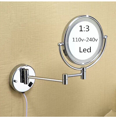 Led bathroom mirror 360 retractable wall mounted Led cosmetic makeup bath mirror double faced led mirror bathroom accessories bathroom mirror 8 dual makeup mirror 1 1 and 1 3 magnifier square copper cosmetic bathroom double faced bath mirror