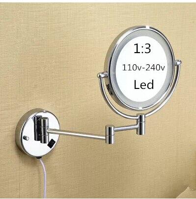 Miroir de salle de bain à Led 360 rétractable mural led maquillage cosmétique bain miroir double face Led miroir salle de bain accessoires