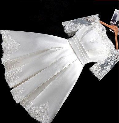 Half Sleeve bridesmaid Dress Boat Neck Satin Lace Vintage Sexy Short Wedding Party Dresses SW180624 Sweet