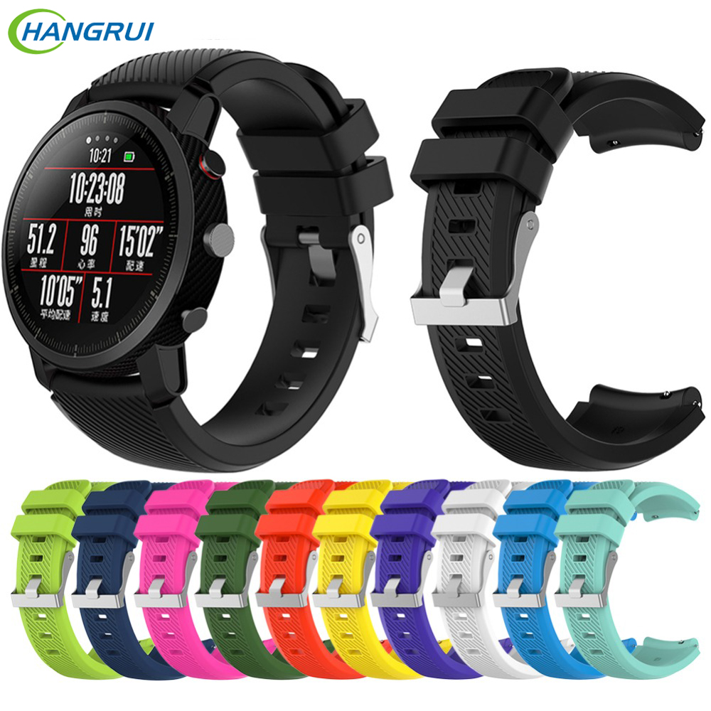 HANGRUI Wrist Strap For Xiaomi Huami Amazfit 2 2S Strap Silicone Band With Buckle Sports Belt For Xiaomi Huami Amazfit 2 Stratos