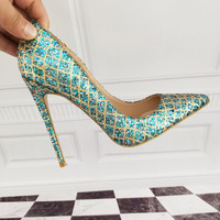 Women's Shoes High Heels High heeled shoes High heeled blue shoes 12cm / 10cm / 8cm Sexy heel size 33 34