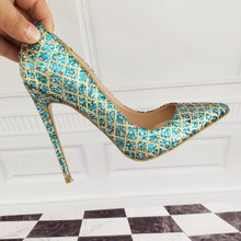 Women's Shoes High Heels High-heeled shoes High-heeled blue shoes 12cm / 10cm / 8cm Sexy heel size 33 34