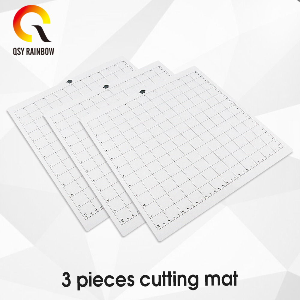 3Pack Replacement Cutting Mat Transparent Adhesive Mat With Measuring Grid 12 By 12-Inch For Silhouette Cameo Plotter Machine