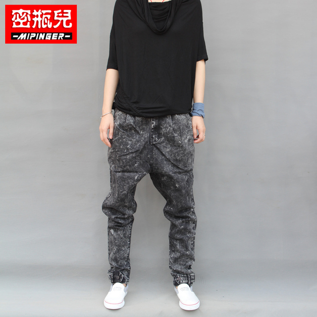 2017 Plus size male middlelowlevel non-mainstream big  loose harem jeans hip-hop skinny low crotch men  jeans