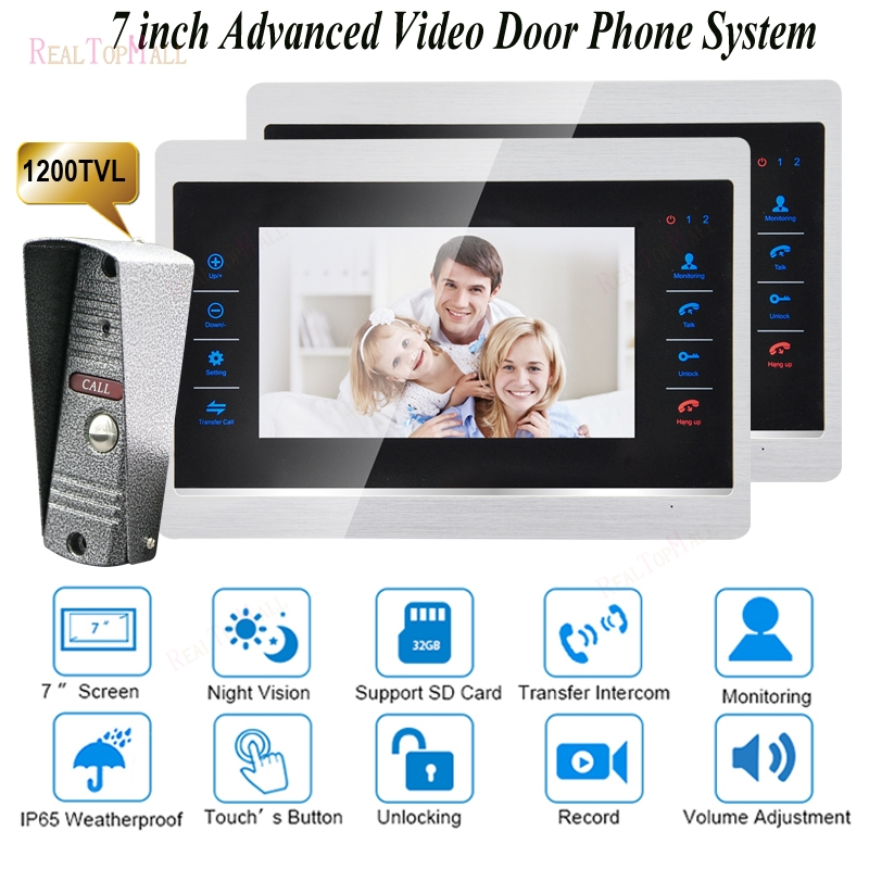 7 Inch Doorbell Camera Video Door Phone Monitor Intercom System Kit Night Vision 1200 TVL Recording SD Card Support 1 v 2