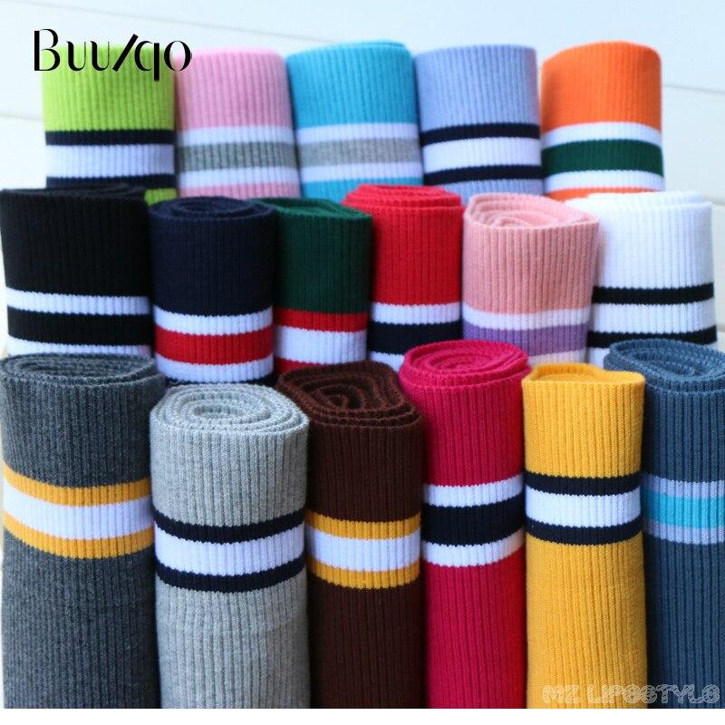 Buulqo 80cm coton fils teints rayures stretch manchette bricolage coton tricoté tissu pour décolleté ourlet, veste d'hiver, accessoires de vêtements