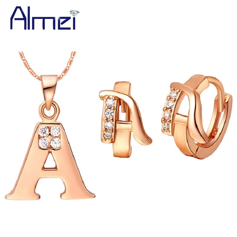 Rose Gold Color Jewelry Sets Letter Pendants Necklace Earrings Letter A B C D E F G H I J K L M N O P Q R S T U V W X Y Z Ulove