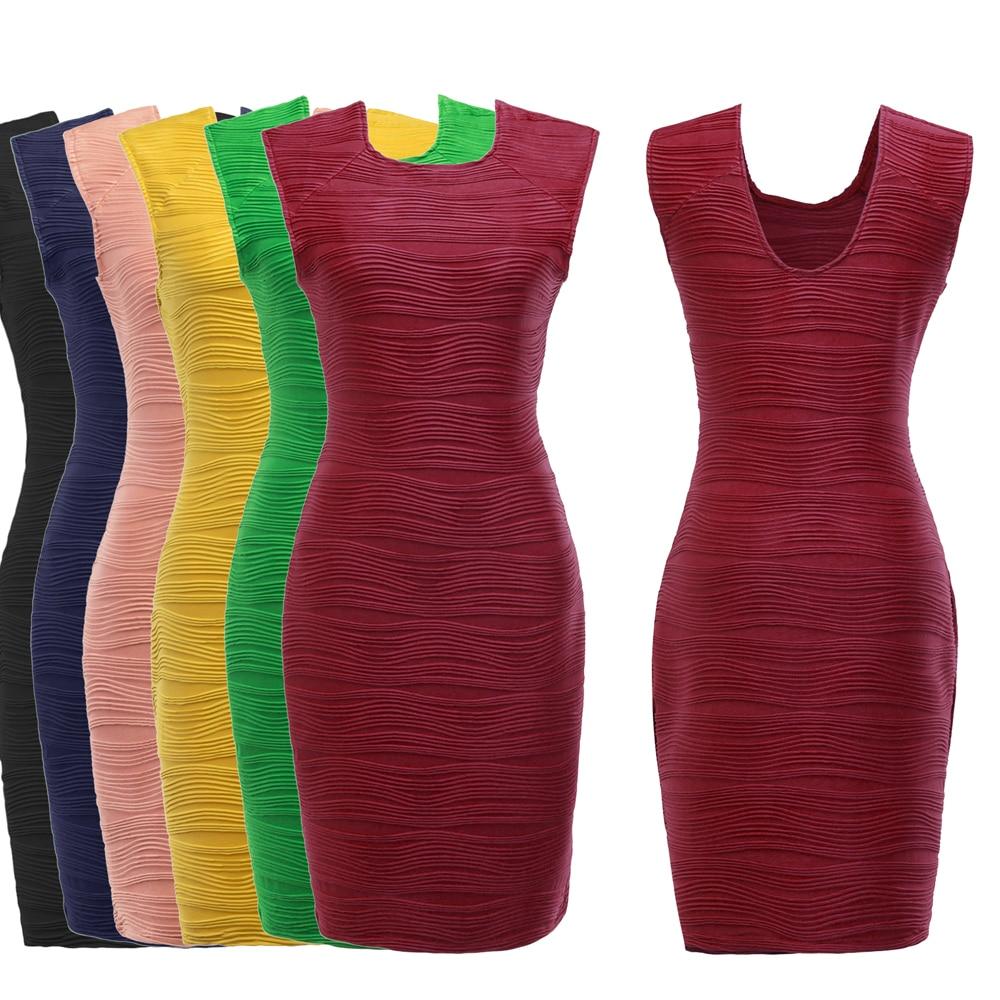 2017 Women Elegant Striped Bodycon O neck Work Dress Casual Sleeveless Bandage Pencil Dress