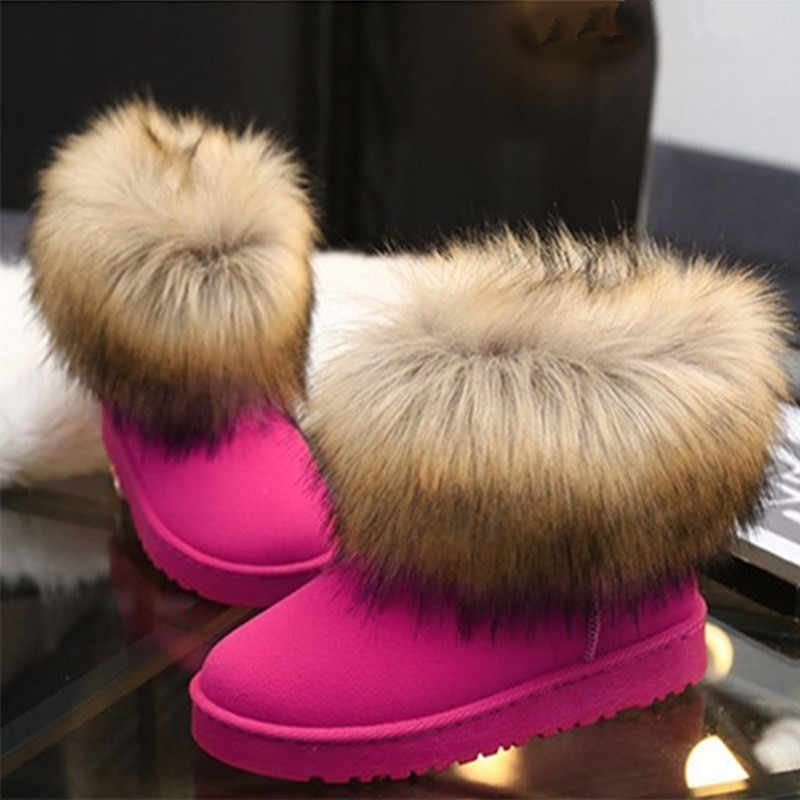 9849c2d2fb Booties Woman 2018 Faux Fur Winter Boots Ladies Shoes Suede Leather Snow  Boots Winter Shoes Women Warm Fur Pink Ankle Boots