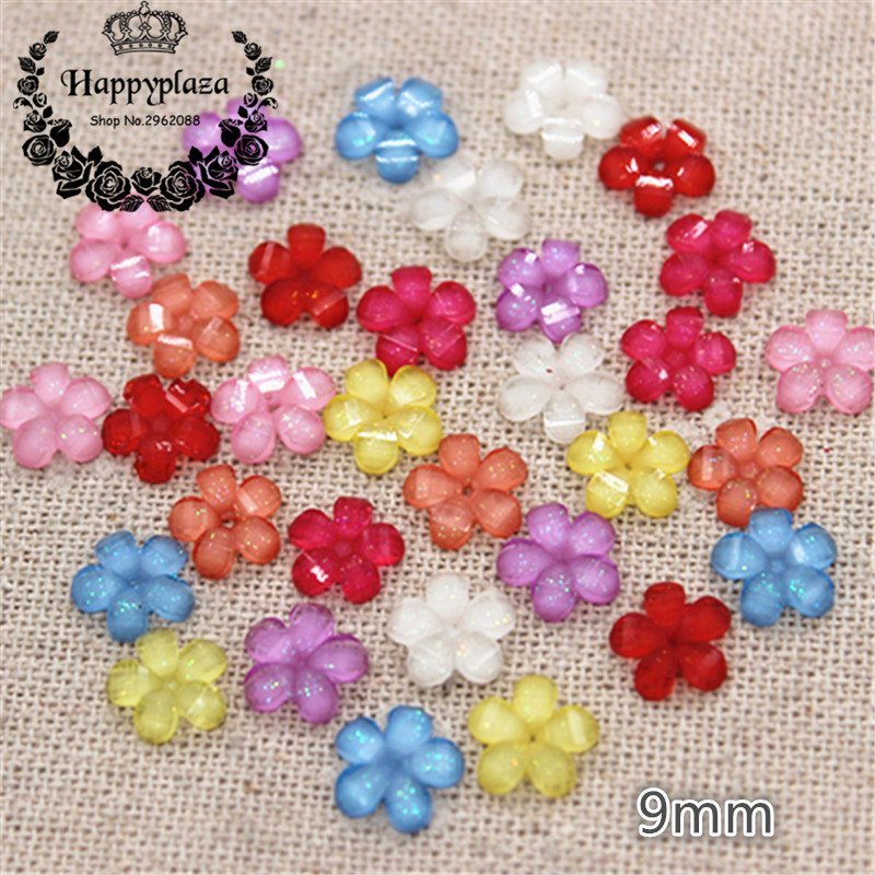 100pcs 9mm Mix Colors Resin Glitter Five-petal Little Flower Flatback Cabochon DIY Craft/Nail Tip Decoration